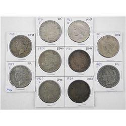 Lot (10) USA Silver Dollars