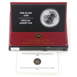 2006 .9999 Fine Silver $5.00 Coin 'Ending 2nd Worl