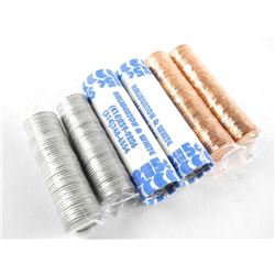 Lot (6) rolls Canada Coins: 2 x cent, 2 x 5 cent,