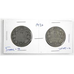 Lot (2) 1920 Silver 50 Cent. Small-O and Wide-O