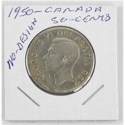 1950 Canada Silver 50 Cent. No Design