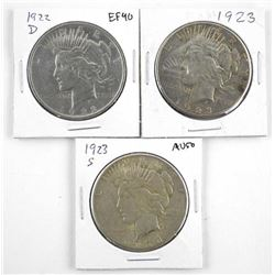 Lot (3) U.S. Silver Peace Dollars (1922d) 1923 and