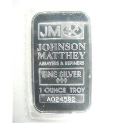JM - One Ounce Silver Bar .999 Fine NO LONGER Prod