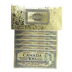 Lot (5) 24kt Gold Leaf $100.00 Collector Notes