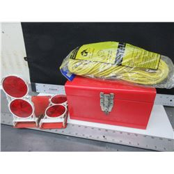 "Red Toolbox , 100ft of 1/4"" Rope & 2 Road side folding Emergency Reflectors"