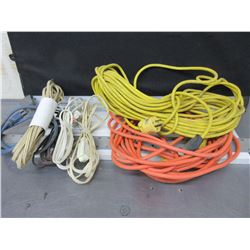 Bundle of 7 Extension Cords / 3 out door / 4 indoor
