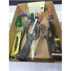 Bundle of Assorted Tools / Leather Punch / Fencing Pliers Blades & more