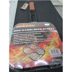 New BBQ / Camping Hamburger Basket / Holds 4 Burgers / locks securely