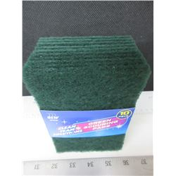 New 10 piece Green Scouring Pads / Great for Grill Cleaning