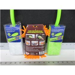 2 New Spic & Span 360 deg Dusters & Microfiber Chenille Sponge