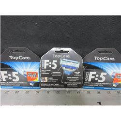 3 New Force F:5 Men's 5 Blade Razor Cartridges with lube strip / 4 per pack