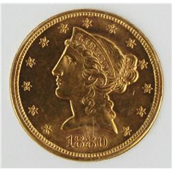 1880-S $5 GOLD