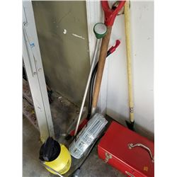 LOT OF GARDEN TOOLS AND SPRAYER