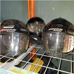 LOT OF MOTORCYCLE HELMETS AND GOALIE HELMET