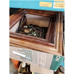 BOX OF HORSE TACK AND WOODEN PICTURE FRAMES