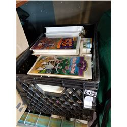 BLACK CRATE OF VHS TAPES