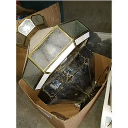 BOX OF 2 HANGING GLASS LAMPS