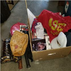 BOX OF SPORTS-RELATED ITEMS AND SPORTING GOODS