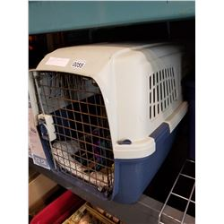 PET KENNEL W/ CONTENTS AND PET FOOD BIN