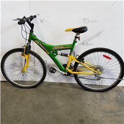 GREEN AND YELLOW 21 SPEED TRAX MOUNTAIN BIKE