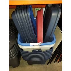 7 100L RUBBERMAID ROUGHNECK TUBES W/ LIDS AND 2 TOTES