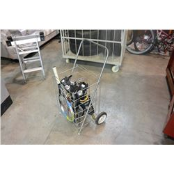 2 TENNIST RAQUETS, AND METAL 2-WHEEL SHOPPING CART W/ 2 PAIRS OF ROLLERS