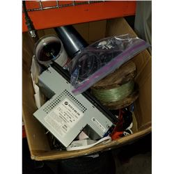 BOX OF ELECTRONICS, FISHING LINE, CDS