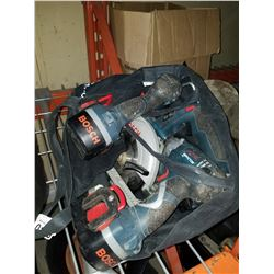 2 BOSCH CORDLESS 18V IMPACT GUNS, AND SKILSAW W/ BATTERIES AND CHARGER