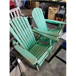 2 GREEN WOOD FOLDING PATIO CHAIRS