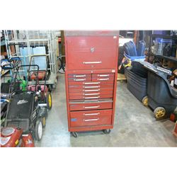 RED 2 PIECE BEACH TOOL CHEST W/ CONTENTS