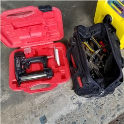 BAG OF HAND TOOLS AND CRAFTSMAN NAILER IN RED CASE