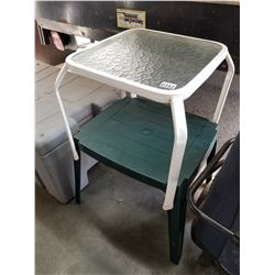2 PATIO TABLES AND BATH ASSIST CHAIR