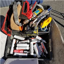 2 TRAYS OF TOOLS AND HILTI CANNISTERS