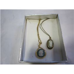 2 WEDGE WOOD CAMEN PENDANTS ON CHAINS