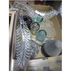 LOT OF GLASS LEAFS, FROGS, CERAMIC AND GLASS INSULATORS, AND SILVER PLATE