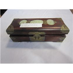 WOOD CHINESE JEWELERY BOX W/ JADE INLAY, AND STERLING AND OTHER JEWELERY