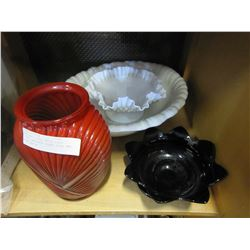 ART DECO VASE, MILK GLASS DISH, AMETHYST GLASS DISH, AND WASH BASIN