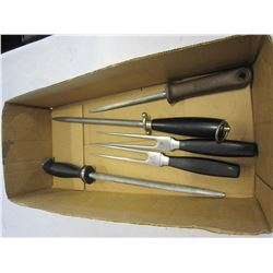 5 HENCKELS TOOLS 3 STEELS AND 2 CARVING FORKS