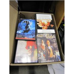 BOX OF CDS AND DVDS