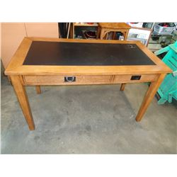 MODERN 2 DRAWER LEATHER TOP DESK W/ USB POWER