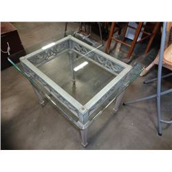 METAL BASE GLASS TOP SIDE TABLE