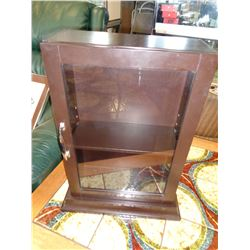 SMALL BROWN GLASS DOOR DISPLAY CASE