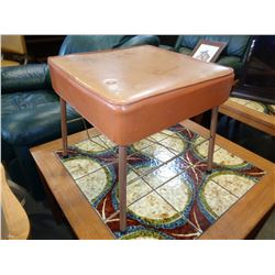 MID CENTURY STOOL W/ LEGS AND STOOL MAGAZINE RACK BUILT IN