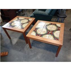 PAIR OF SQUARE TILE TOP ENDTABLES