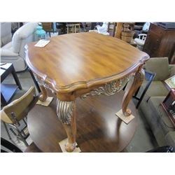 NEW MORGAN FURNITURE CARVED WALNUT FINISH ENDTABLE RETAIL $569