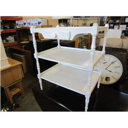 WHITE 3 TIER SHELF W/ DRAWER