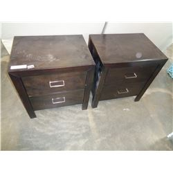 PAIR OF ASHLEY DARK FINISH 2 DRAWER ENDTABLES, RETAIL $299 EACH