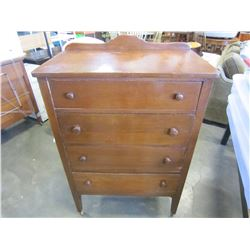 4 DRAWER DRESSER W/ WOOD CASTORS