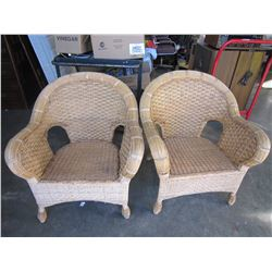 2 WICKER ARM CHAIRS