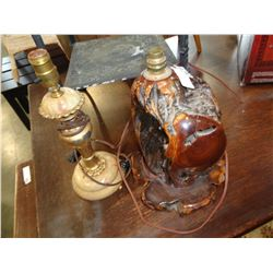 2 ANTIQUE COFFEE LAMPS - 1 BURL